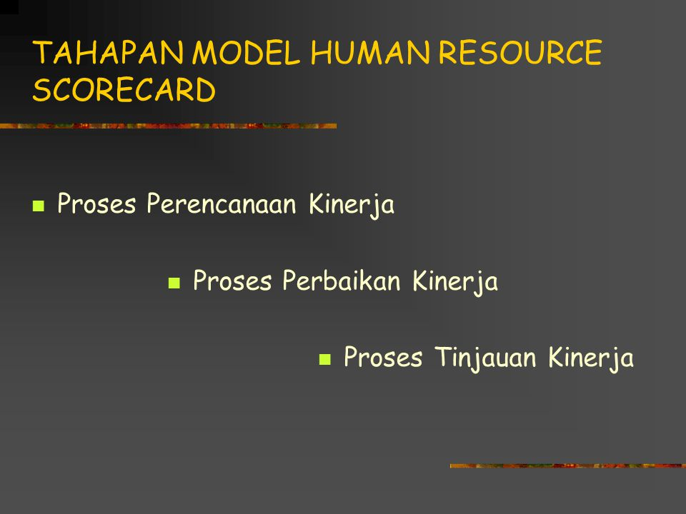 TAHAPAN MODEL HUMAN RESOURCE SCORECARD