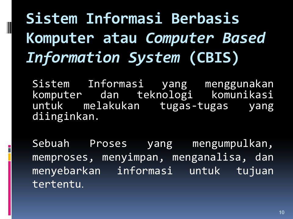 Sistem Informasi Berbasis Komputer atau Computer Based Information System (CBIS)
