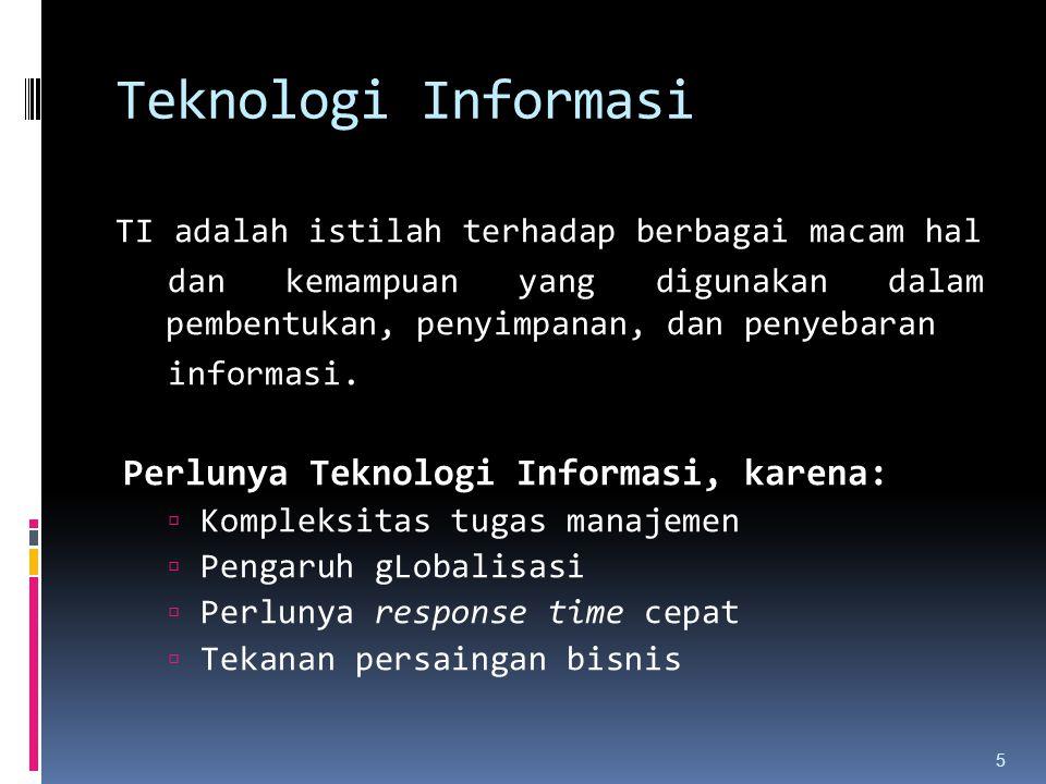Teknologi Informasi Perlunya Teknologi Informasi, karena: