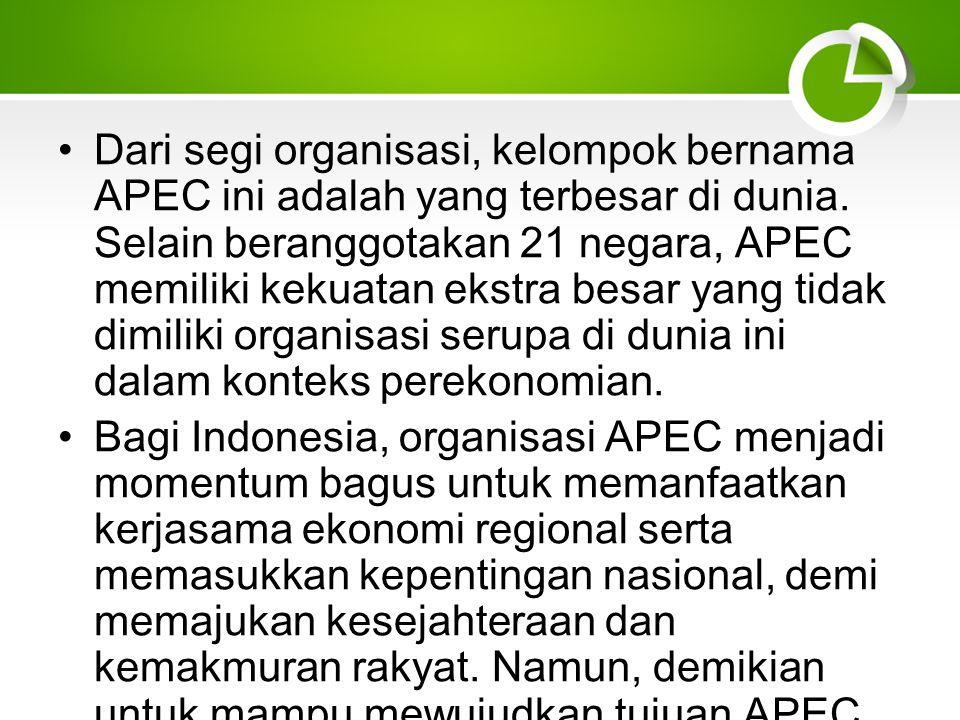 Dari segi organisasi, kelompok bernama APEC ini adalah yang terbesar di dunia. Selain beranggotakan 21 negara, APEC memiliki kekuatan ekstra besar yang tidak dimiliki organisasi serupa di dunia ini dalam konteks perekonomian.