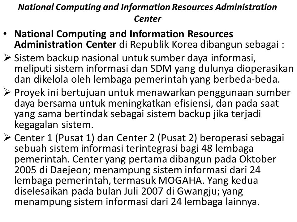 National Computing and Information Resources Administration Center