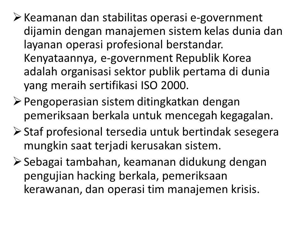 Keamanan dan stabilitas operasi e-government dijamin dengan manajemen sistem kelas dunia dan layanan operasi profesional berstandar. Kenyataannya, e-government Republik Korea adalah organisasi sektor publik pertama di dunia yang meraih sertifikasi ISO 2000.