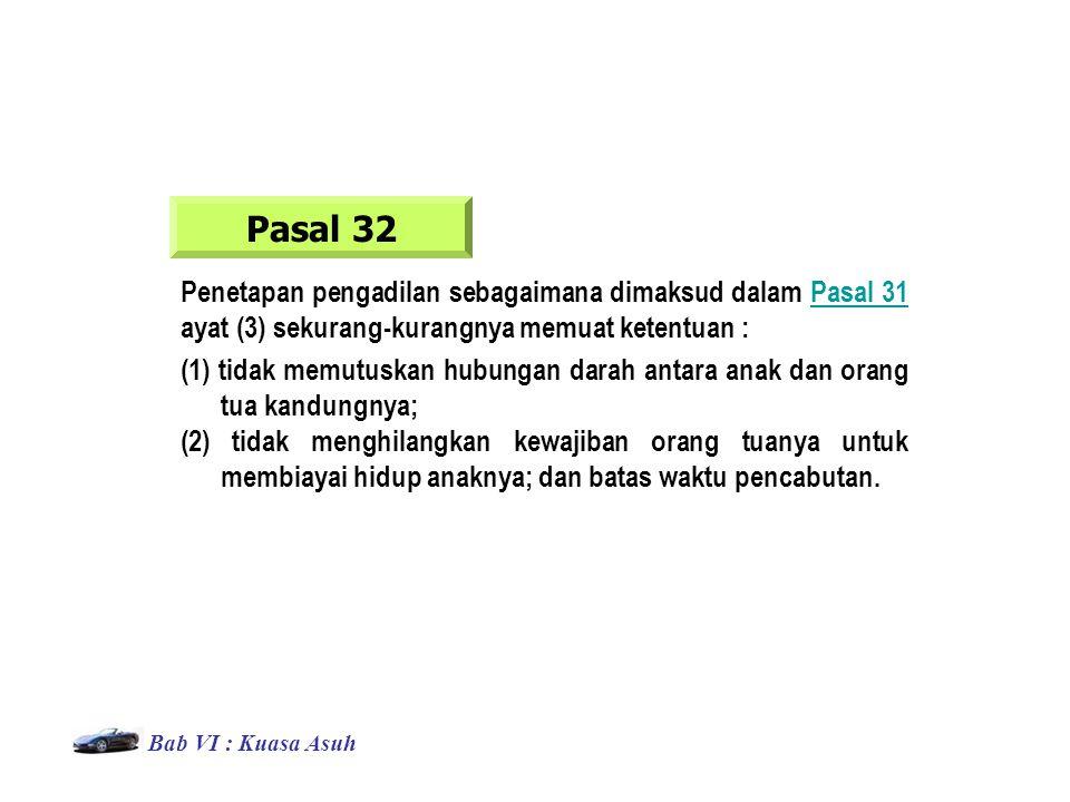 Pasal 32 Penetapan pengadilan sebagaimana dimaksud dalam Pasal 31 ayat (3) sekurang-kurangnya memuat ketentuan :