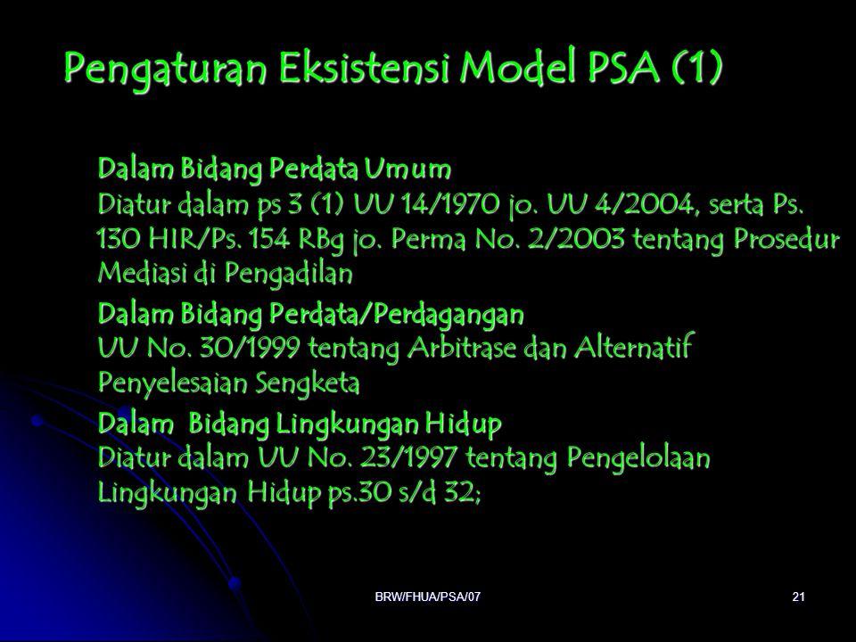 Pengaturan Eksistensi Model PSA (1)