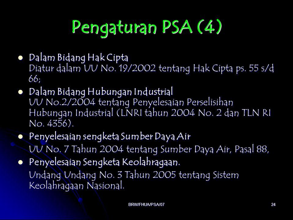 Pengaturan PSA (4) Dalam Bidang Hak Cipta Diatur dalam UU No. 19/2002 tentang Hak Cipta ps. 55 s/d 66;