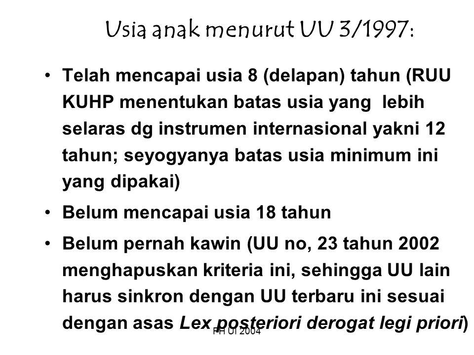 Usia anak menurut UU 3/1997: