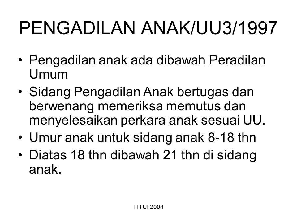 PENGADILAN ANAK/UU3/1997 Pengadilan anak ada dibawah Peradilan Umum