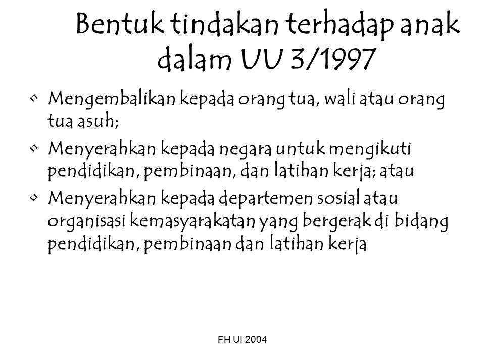 Bentuk tindakan terhadap anak dalam UU 3/1997