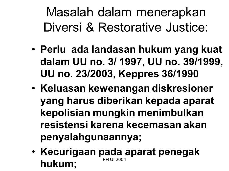 Masalah dalam menerapkan Diversi & Restorative Justice: