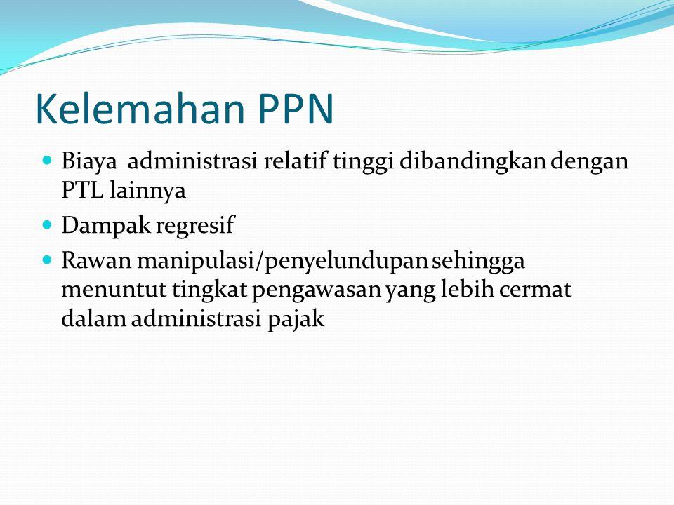 Kelemahan PPN Biaya administrasi relatif tinggi dibandingkan dengan PTL lainnya. Dampak regresif.