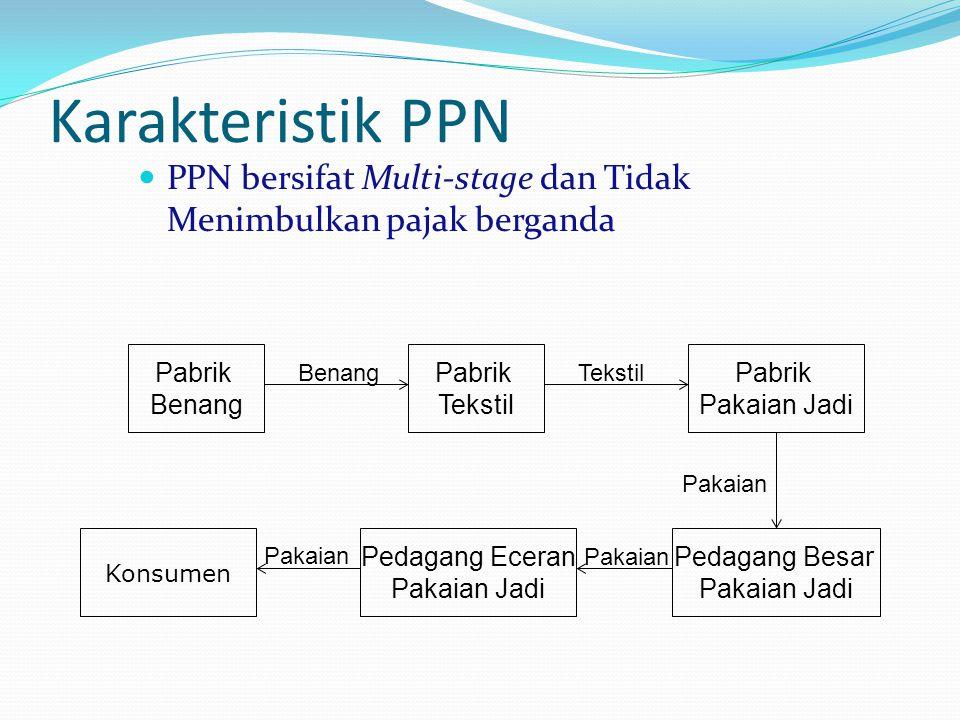 Karakteristik PPN PPN bersifat Multi-stage dan Tidak Menimbulkan pajak berganda. Pabrik. Benang. Tekstil.