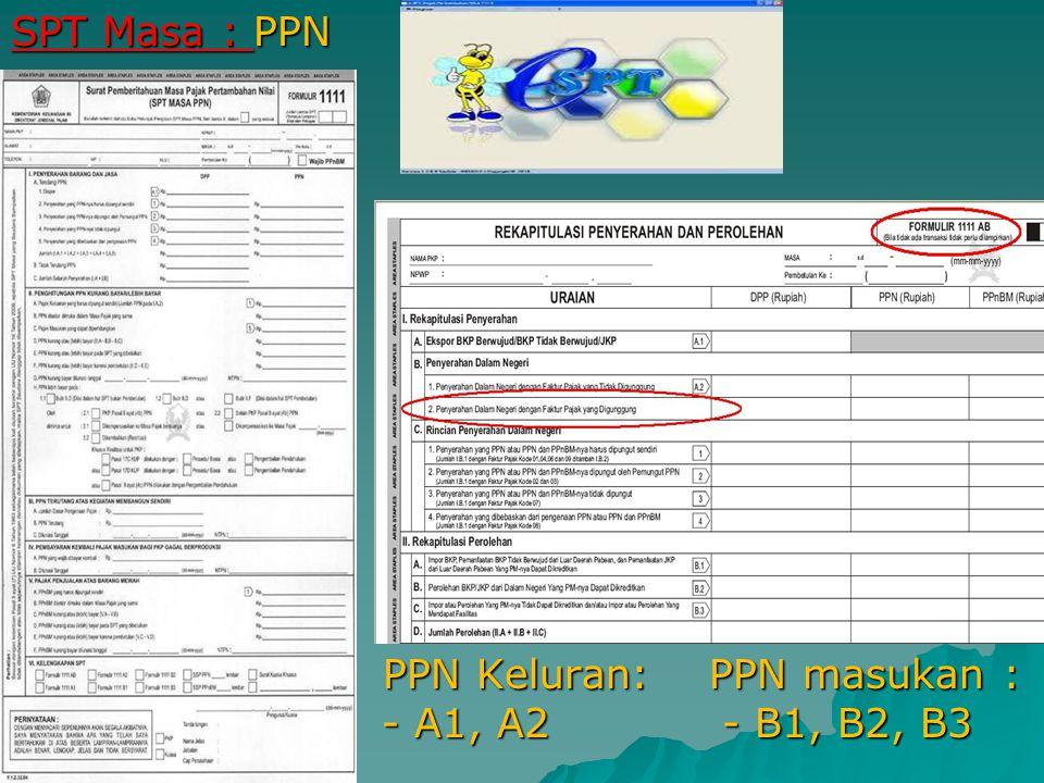 SPT Masa : PPN PPN Keluran: PPN masukan : asukan - A1, A2 - B1, B2, B3