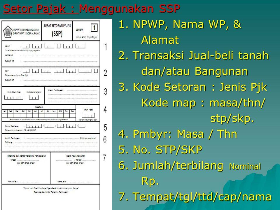 Setor Pajak : Menggunakan SSP 1. NPWP, Nama WP, & Alamat 2