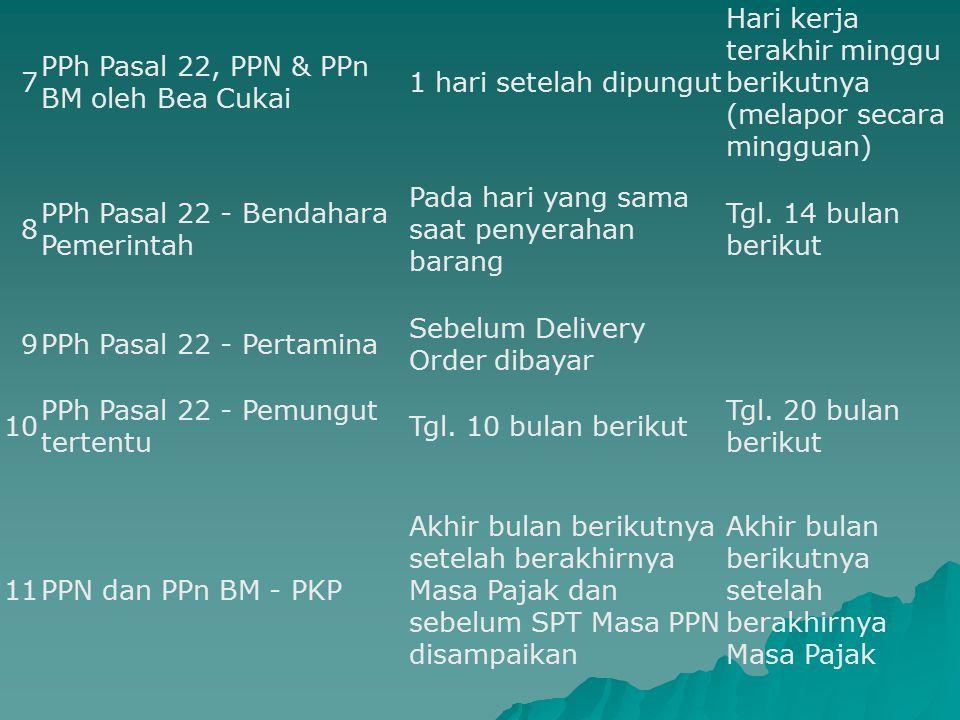 7 PPh Pasal 22, PPN & PPn BM oleh Bea Cukai. 1 hari setelah dipungut. Hari kerja terakhir minggu berikutnya (melapor secara mingguan)