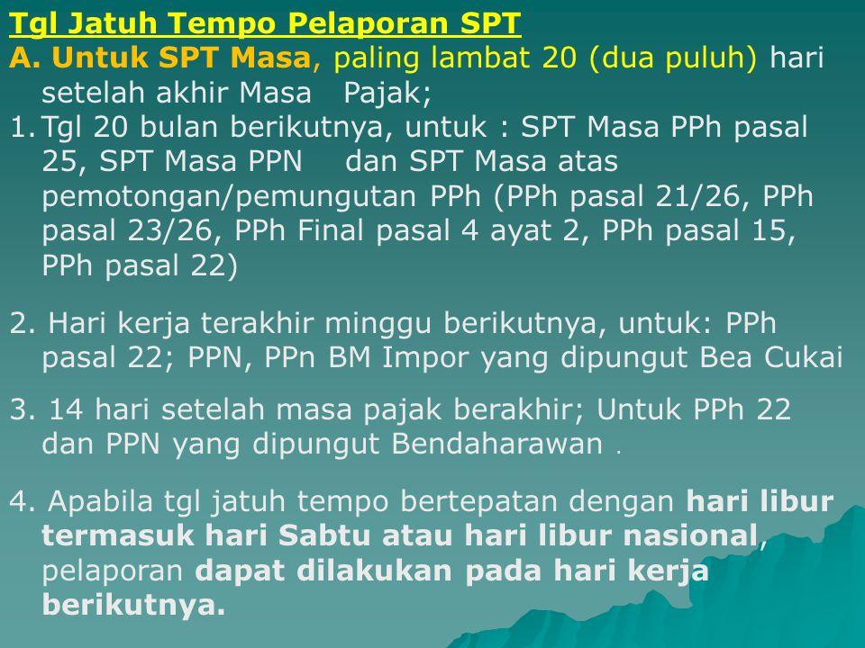Tgl Jatuh Tempo Pelaporan SPT