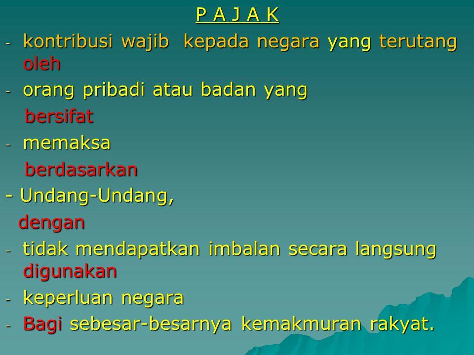 P A J A K kontribusi wajib kepada negara yang terutang oleh. orang pribadi atau badan yang. bersifat.