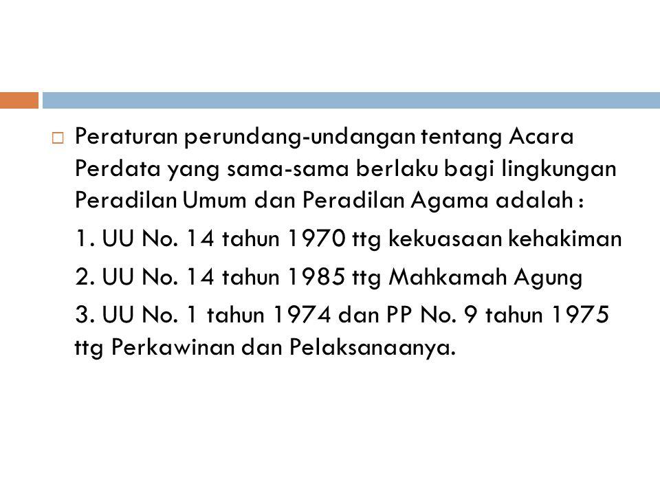 Peraturan perundang-undangan tentang Acara Perdata yang sama-sama berlaku bagi lingkungan Peradilan Umum dan Peradilan Agama adalah :