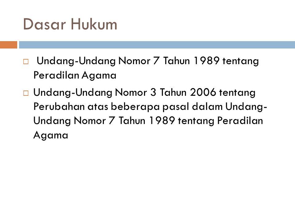 Dasar Hukum Undang-Undang Nomor 7 Tahun 1989 tentang Peradilan Agama
