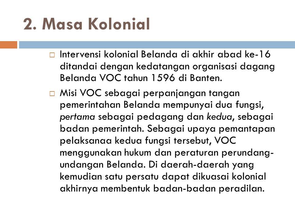 2. Masa Kolonial Intervensi kolonial Belanda di akhir abad ke-16 ditandai dengan kedatangan organisasi dagang Belanda VOC tahun 1596 di Banten.