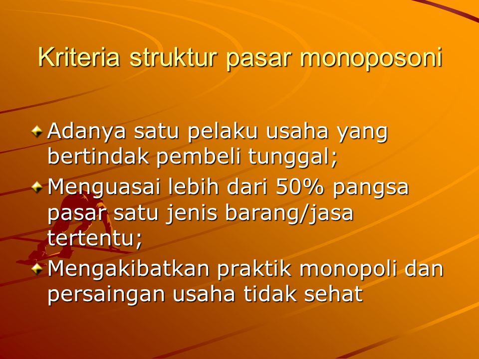 Kriteria struktur pasar monoposoni