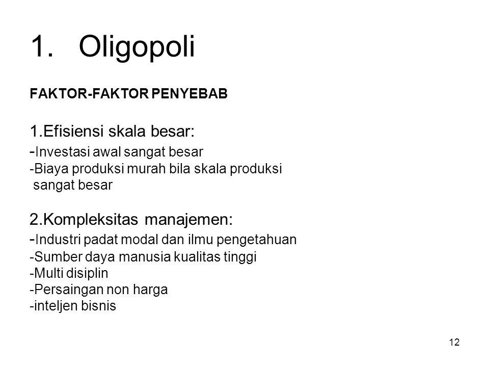 1. Oligopoli 1.Efisiensi skala besar: -Investasi awal sangat besar