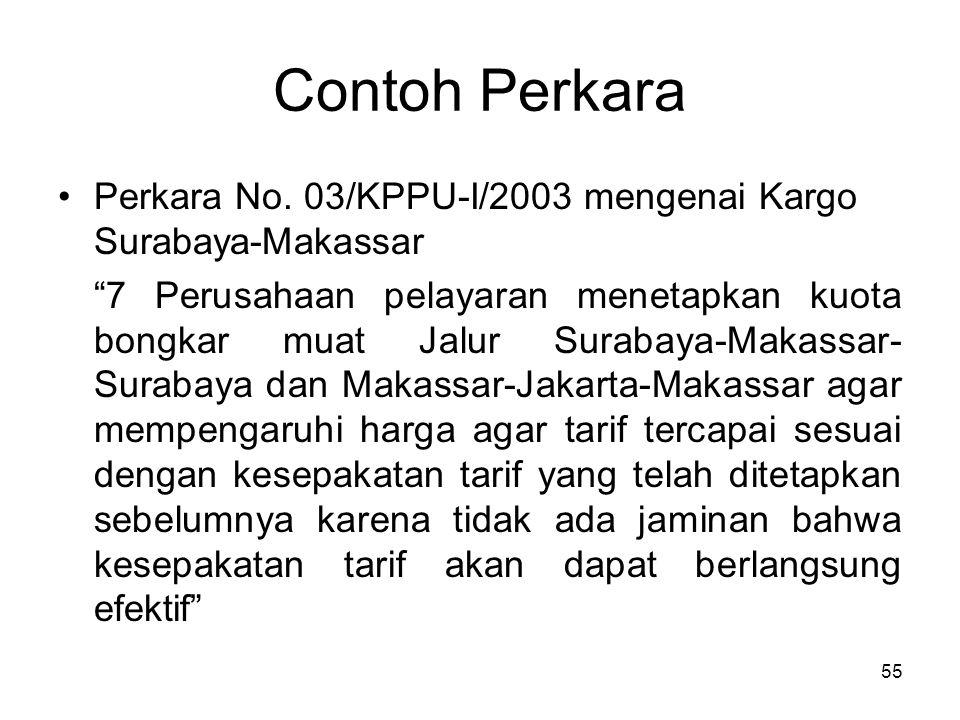 Contoh Perkara Perkara No. 03/KPPU-I/2003 mengenai Kargo Surabaya-Makassar.