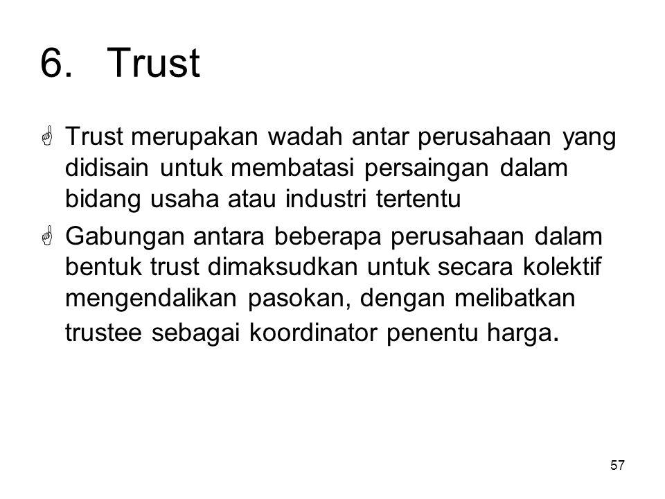 6. Trust Trust merupakan wadah antar perusahaan yang didisain untuk membatasi persaingan dalam bidang usaha atau industri tertentu.