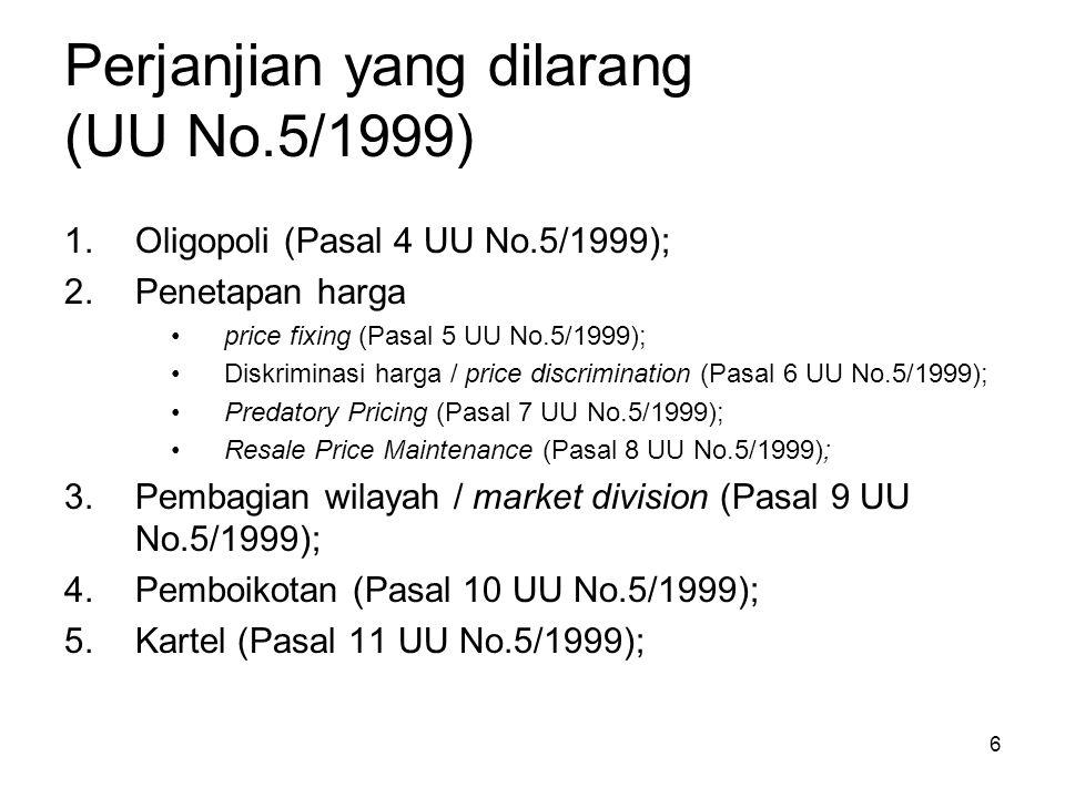 Perjanjian yang dilarang (UU No.5/1999)