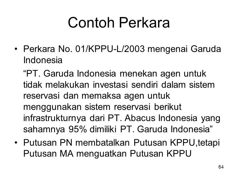 Contoh Perkara Perkara No. 01/KPPU-L/2003 mengenai Garuda Indonesia