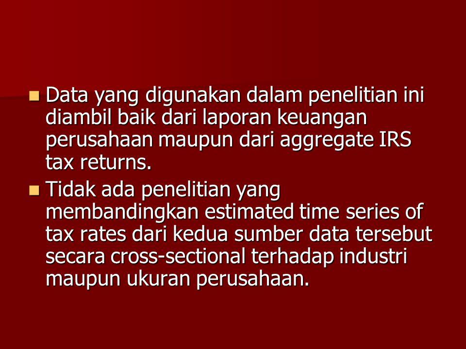 Data yang digunakan dalam penelitian ini diambil baik dari laporan keuangan perusahaan maupun dari aggregate IRS tax returns.
