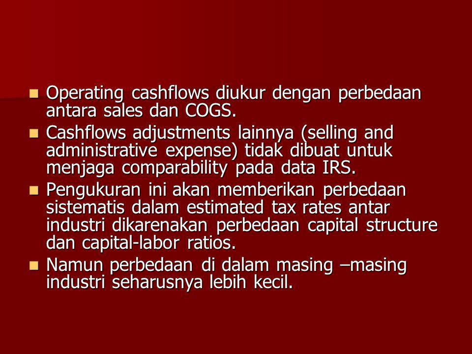 Operating cashflows diukur dengan perbedaan antara sales dan COGS.