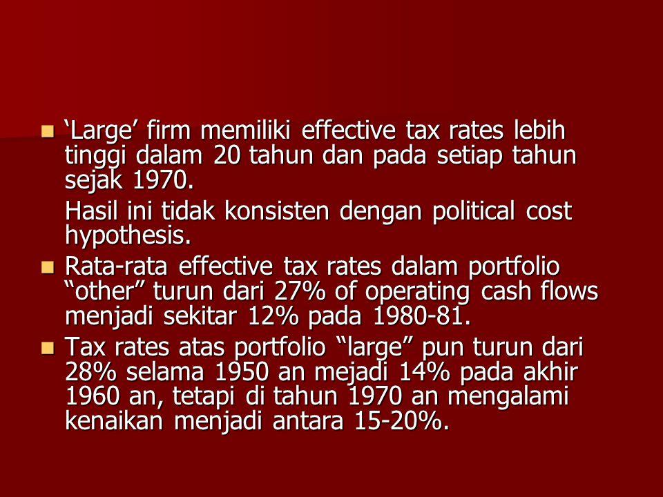 'Large' firm memiliki effective tax rates lebih tinggi dalam 20 tahun dan pada setiap tahun sejak 1970.