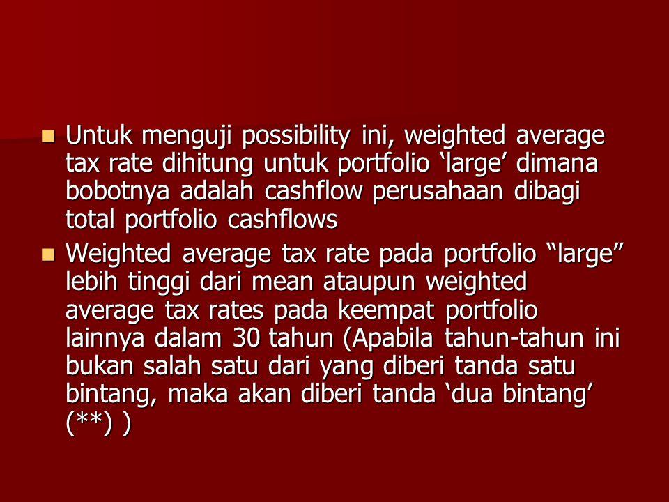 Untuk menguji possibility ini, weighted average tax rate dihitung untuk portfolio 'large' dimana bobotnya adalah cashflow perusahaan dibagi total portfolio cashflows
