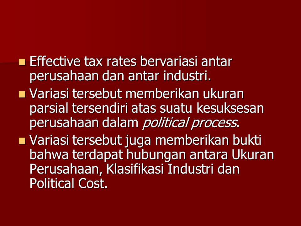 Effective tax rates bervariasi antar perusahaan dan antar industri.