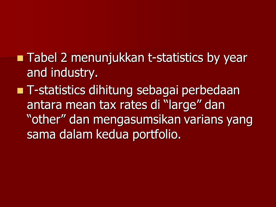 Tabel 2 menunjukkan t-statistics by year and industry.
