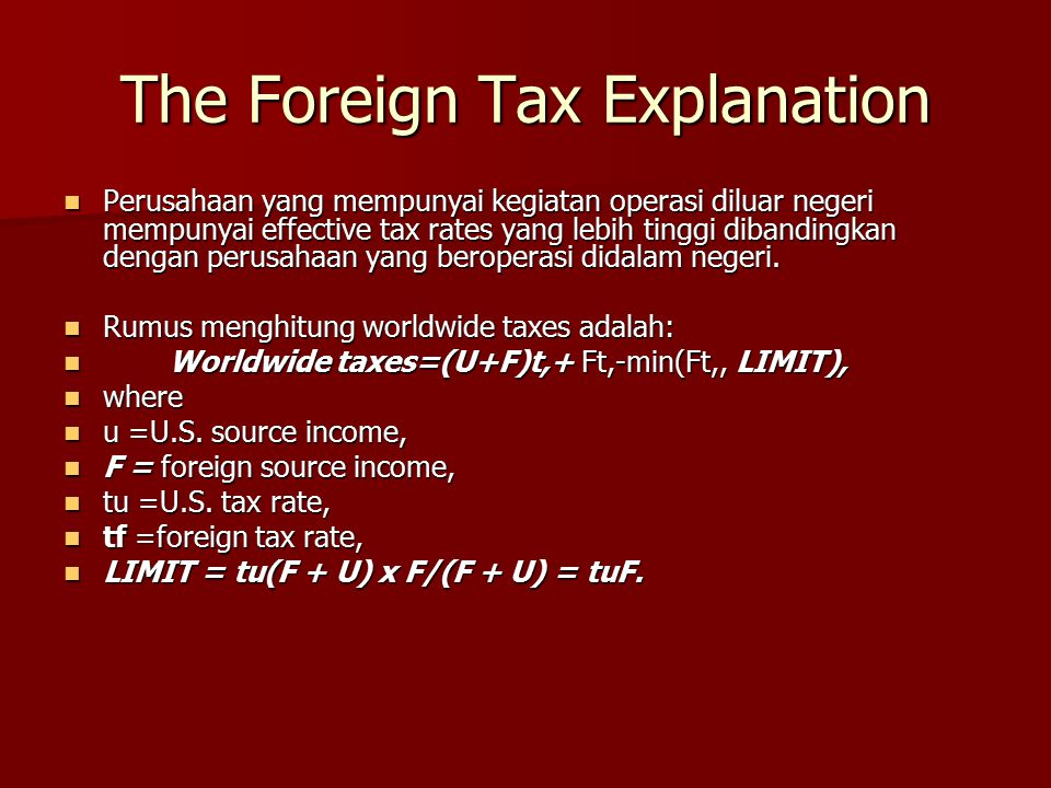 The Foreign Tax Explanation