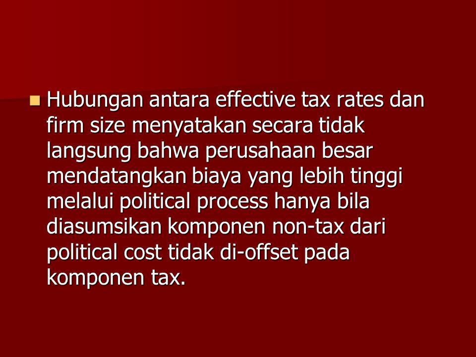 Hubungan antara effective tax rates dan firm size menyatakan secara tidak langsung bahwa perusahaan besar mendatangkan biaya yang lebih tinggi melalui political process hanya bila diasumsikan komponen non-tax dari political cost tidak di-offset pada komponen tax.