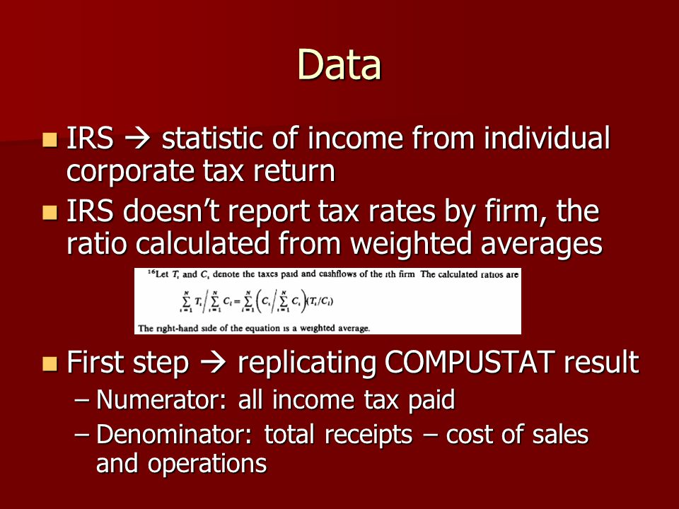 Data IRS  statistic of income from individual corporate tax return