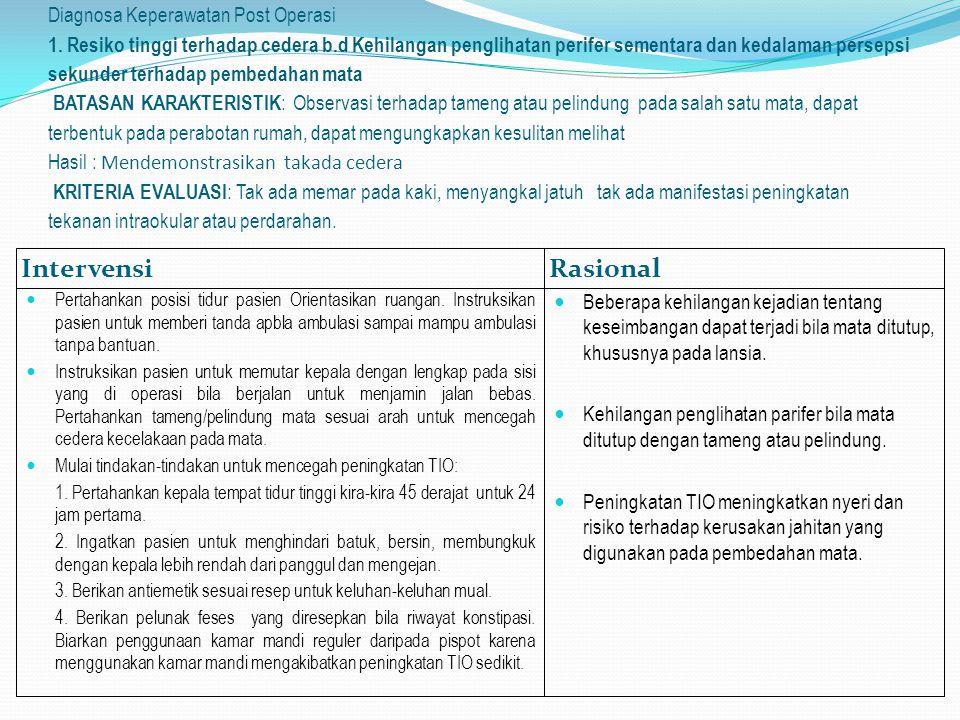 Diagnosa Keperawatan Post Operasi 1. Resiko tinggi terhadap cedera b
