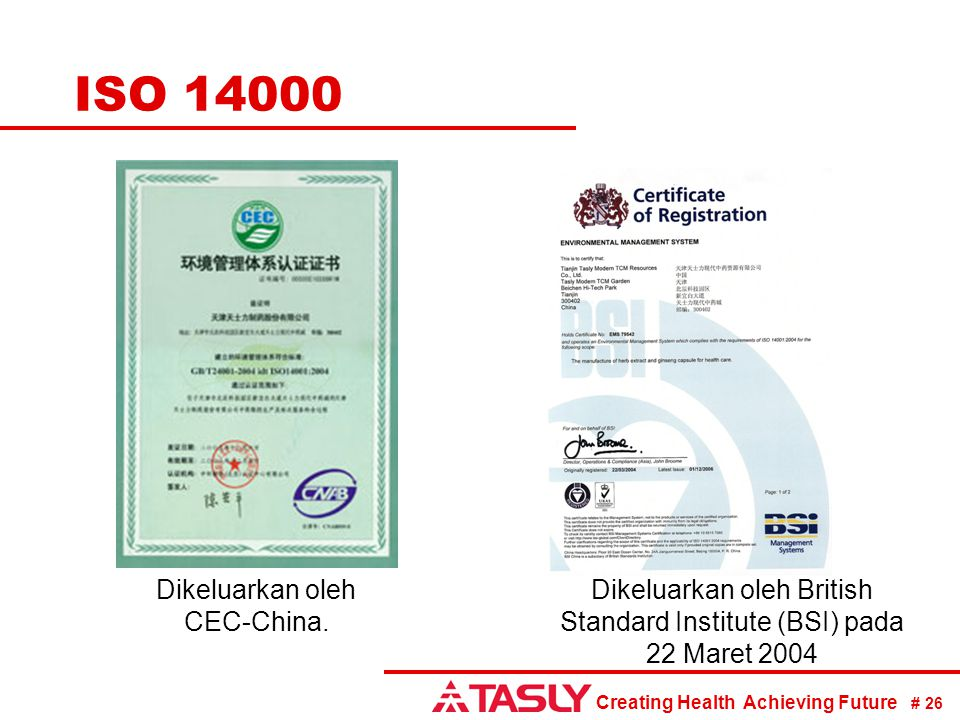 ISO 14000 Dikeluarkan oleh CEC-China.