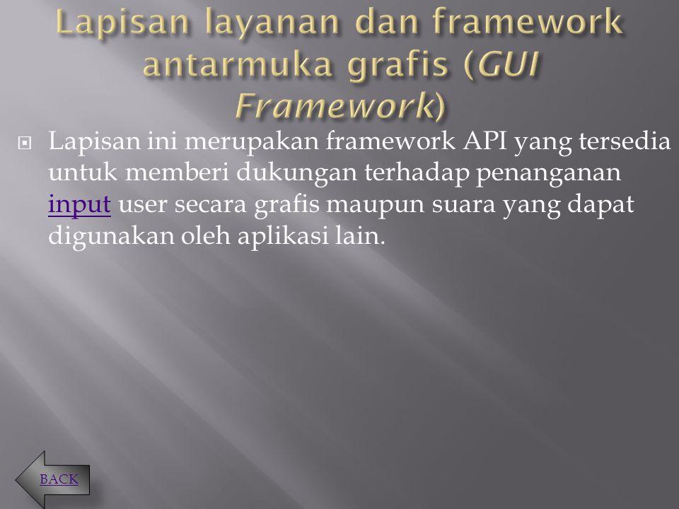 Lapisan layanan dan framework antarmuka grafis (GUI Framework)