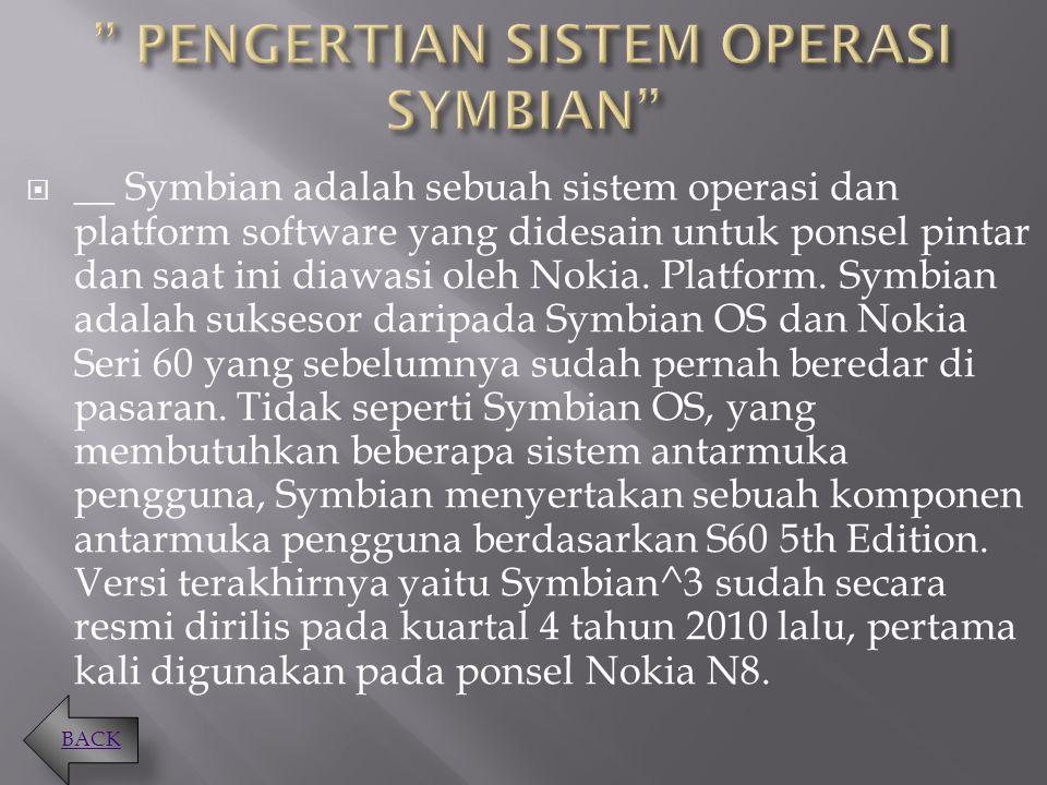 PENGERTIAN SISTEM OPERASI SYMBIAN