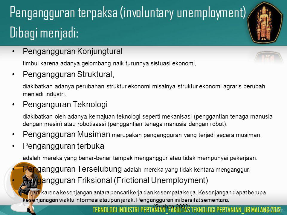 Pengangguran terpaksa (involuntary unemployment) Dibagi menjadi: