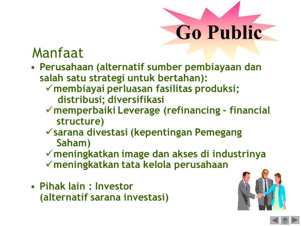 Go Public Manfaat. Perusahaan (alternatif sumber pembiayaan dan salah satu strategi untuk bertahan):