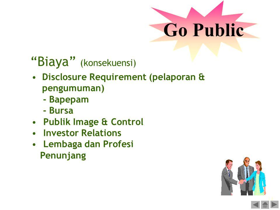 Go Public Biaya (konsekuensi)