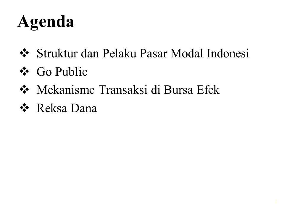 Agenda Struktur dan Pelaku Pasar Modal Indonesi Go Public
