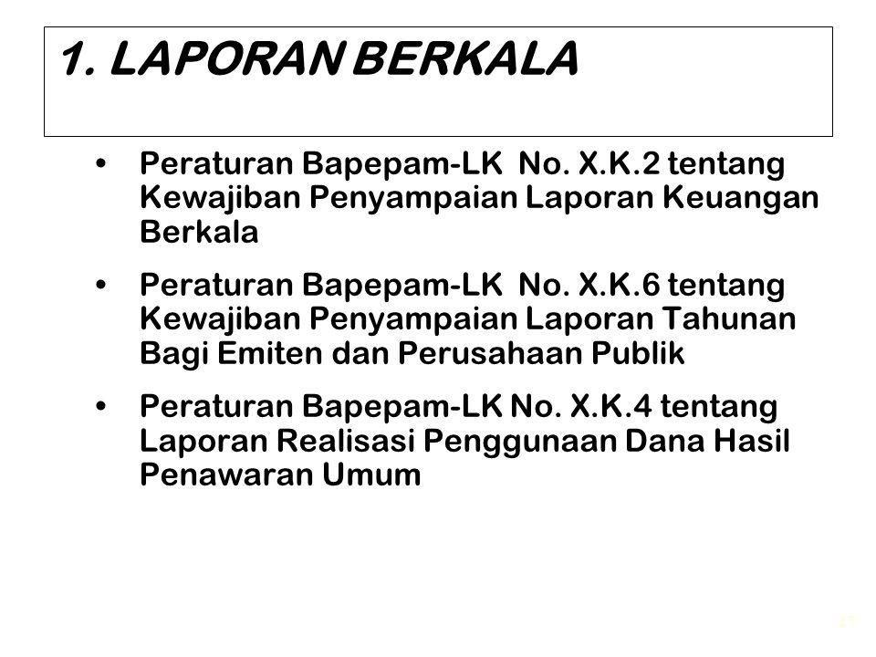 1. LAPORAN BERKALA Peraturan Bapepam-LK No. X.K.2 tentang Kewajiban Penyampaian Laporan Keuangan Berkala.