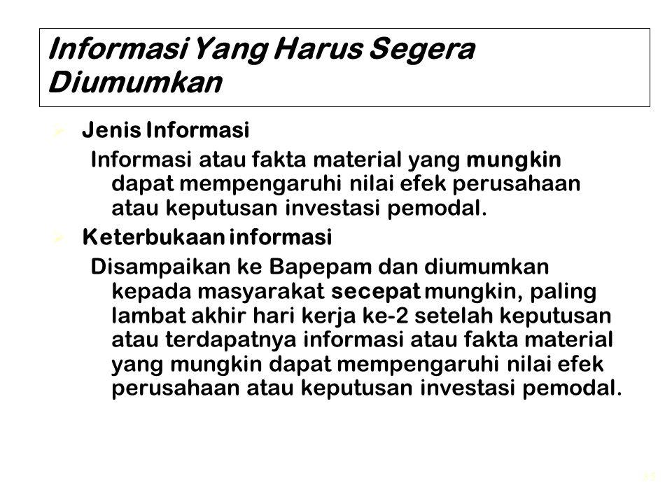 Informasi Yang Harus Segera Diumumkan