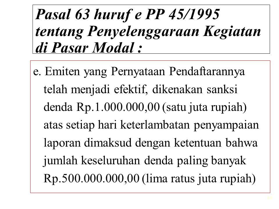 Pasal 63 huruf e PP 45/1995 tentang Penyelenggaraan Kegiatan di Pasar Modal :