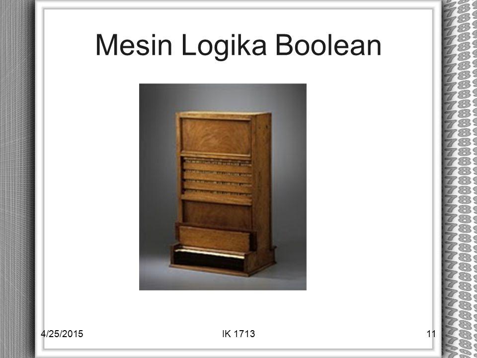 Mesin Logika Boolean 4/14/2017 IK 1713
